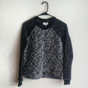 Lou & Grey Black & White Cropped Scoop Sweater